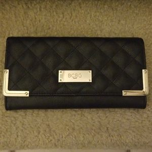 BCBG black quilted wallet faux leather gold EUC